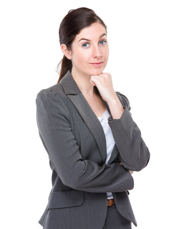 lean on hands: Business woman