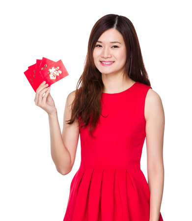 Woman hold with Chinese pocket photo