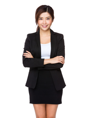business woman: Business woman on white background