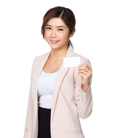 chinese people: Asian businesswoman holding a blank business card Stock Photo