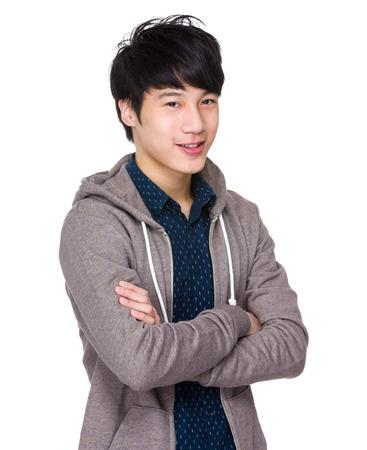 mani incrociate: Giovane maschio asiatico