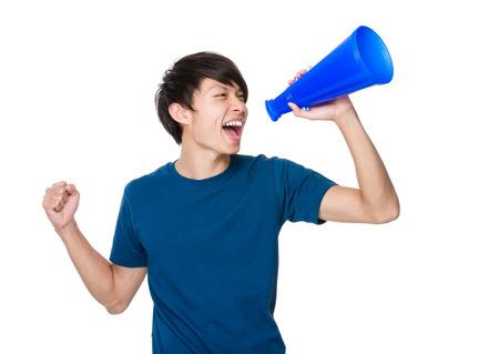 loud speaker: Man shout with loud speaker
