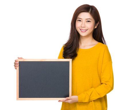 Woman show with chalkboard photo