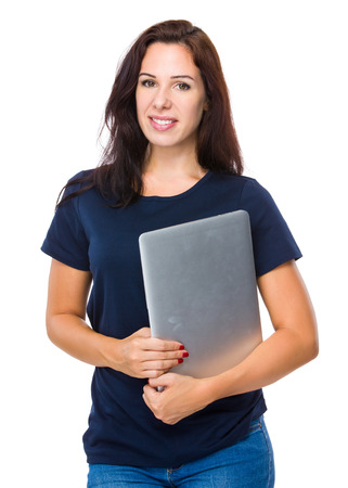 notebook computer: Woman hold with notebook computer