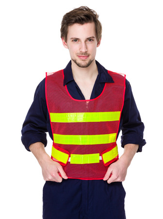 reflective: Smiling worker in a reflective vest