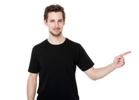 hombre caucasico: Hombre de raza cauc�sica con el dedo hasta Foto de archivo