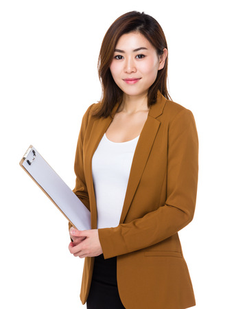 mujeres morenas: Businesswoman hold with folder Foto de archivo