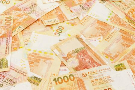 stack of dollar bill: Hong Kong thousand dollars Stock Photo