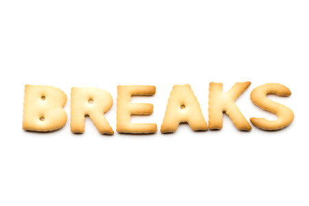 tea breaks: Word breaks cookie isolated on white background