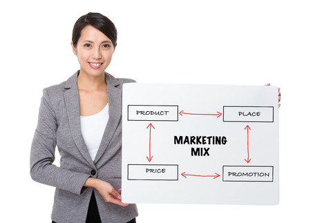 4p: Young businesswoman holding a board showing business mix concept Stock Photo