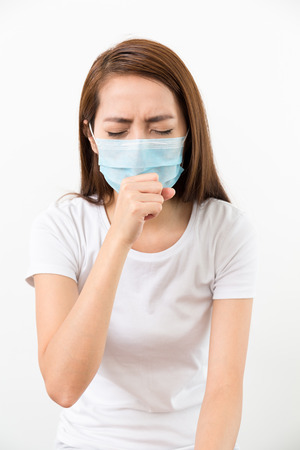 Woman cough though medical face mask