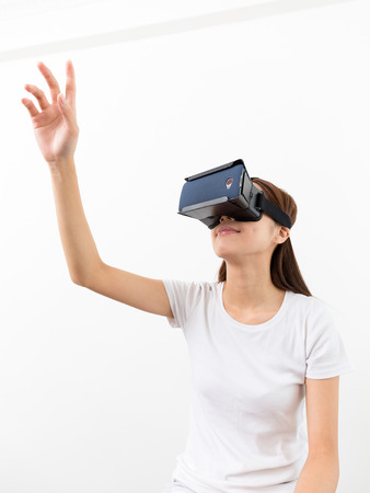 reality: Woman wear with virtual eality headset