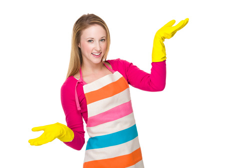 housewife gloves: Housewife with kitchen gloves