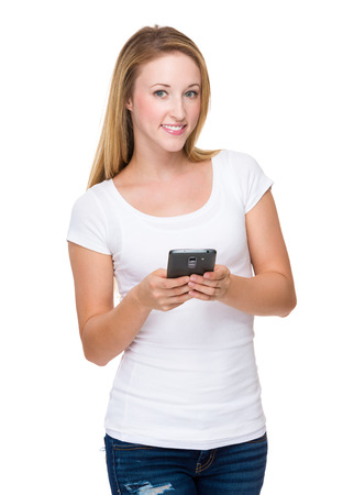 white girl: Woman use of cellphone Stock Photo