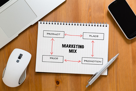 marketing mix: Office table with handbook drafting about marketing mix concept