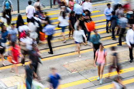 hectic: Bokeh view of Hong Kong Busy road Stock Photo
