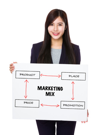 4p: Businesswoman holding a banner presenting business mix concept Stock Photo