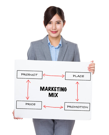 4p: Asian businesswoman holding a banner presenting business mix concept Stock Photo