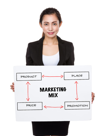4p: Asian businesswoman holding a placard presenting business mix concept