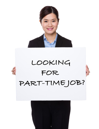 looking for job: Businesswoman with white palcard for showing phrase of looking for part-time job Stock Photo