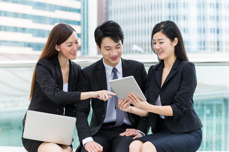 group  accountant: Business group of people using laptop computer and tablet computer Stock Photo