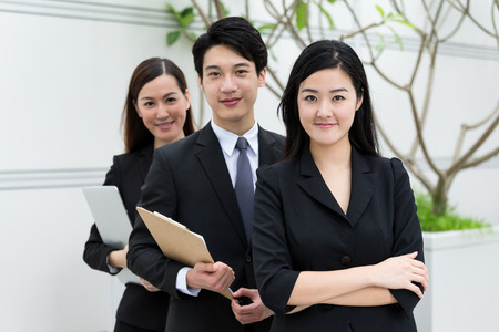 chinese businessman: Group of business people at outdoor Stock Photo