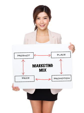 4p: Young businesswoman holding a poster presenting business mix concept Stock Photo