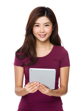 compute: Woman holding tablet compute