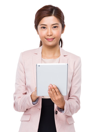 e pretty: Asian Business woman use of the digital tablet Stock Photo