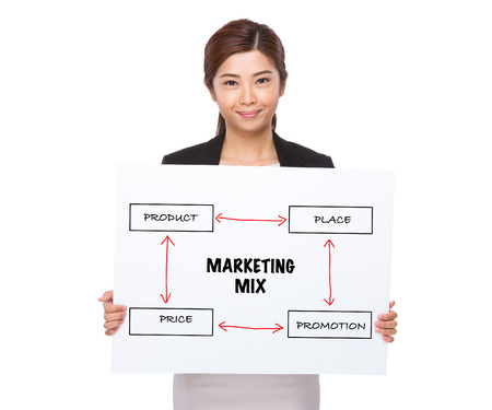 4p: Businesswoman holding a placard showing business mix concept