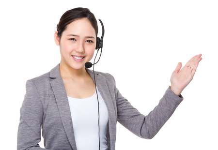 customer service representative: Customer services supportor and hand show with blank sign Stock Photo