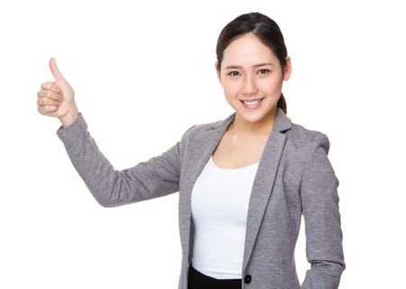 buisness woman: Buisness woman with thumb up Stock Photo