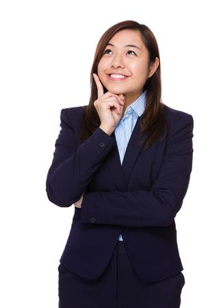 business idea: Business woman think of idea