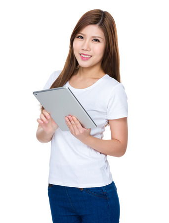 causal: Woman use of digital tablet Stock Photo