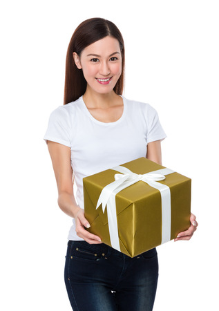 causal: Woman hold with present box