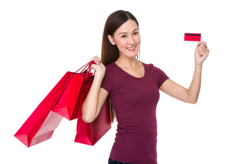 causal: Asian young woman hold with shopping bag and credit card