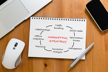 drafting table: Office table with handbook drafting about marketing Strategy concept Stock Photo