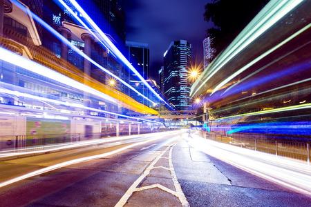 city traffic: Busy traffic in Hong Kong city at night