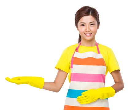 housewife gloves: Asian housewife open hand palma with plastic gloves