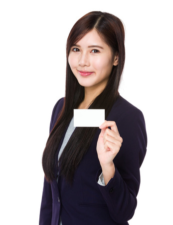 businesscard: Asian businesswoman show with businesscard