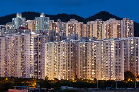 cramped: Hign density residential building in Hong Kong at night
