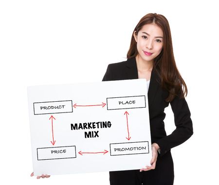 marketing mix: Business woman with a board for marketing mix concept