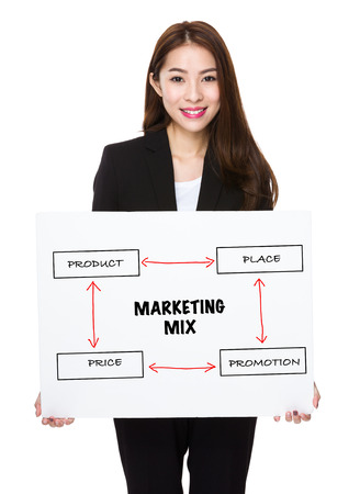 4p: Young businesswoman holding a banner presenting business mix concept Stock Photo