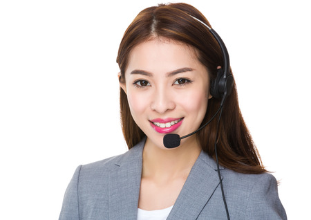 headset woman: Customer service assistant Stock Photo