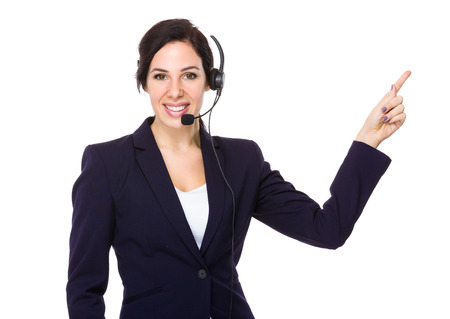 hotlink: Call center agent with finger point up