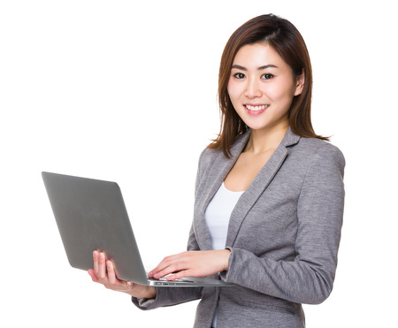 computer use: Businesswoman use of laptop computer