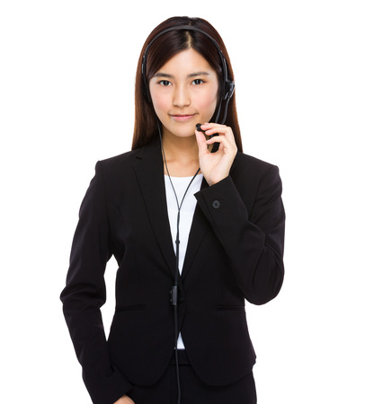 chinese lady: Customer services operator hold with microphone Stock Photo
