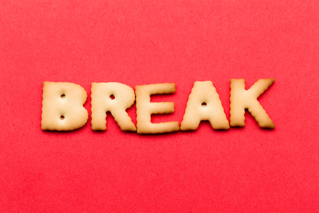 tea breaks: Word break cookie over the red background