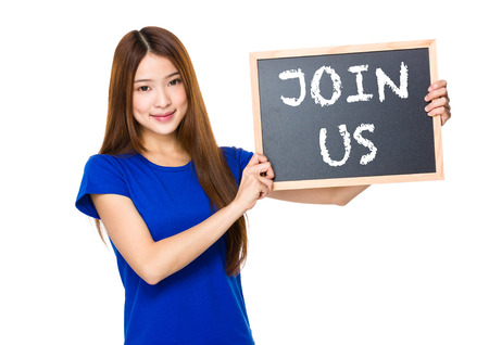 show of hands: Beautiful asian women asian hold wood blackboard showing phrase of join us