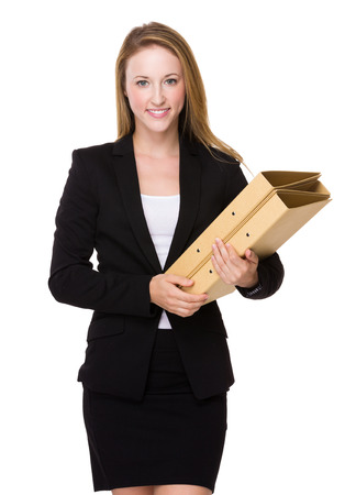 american banker: Businesswoman hold with folder Stock Photo